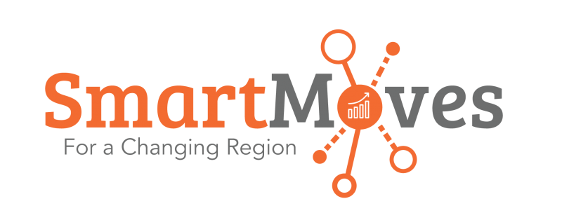 """Orange and Grey """"Smart Moves For A Changing Region"""" logo"""